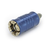 """WEH® Connector TW108 for filling refrigerants during maintenance of automotive air conditioning equipment acc. to SAE J639,  Ø 11, blue (low pressure), max. 510 psi,, inline media inlet, UNF 7/16""""-20 male thread (SAE J513 - 45°)"""