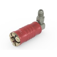 """Connectool 111 for  refrigerant charging on 1/4"""" SAE male Schrader valve, red high side service port, chloroprene seal, max. 610 psi,  90° termination UNF 7/16""""-20 male"""